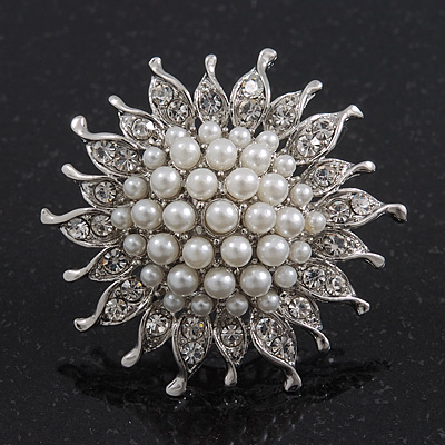 Large Diamante/ Pearl 'Sunflower' Cocktail Ring In Rhodium Plating - 4.5cm Diameter