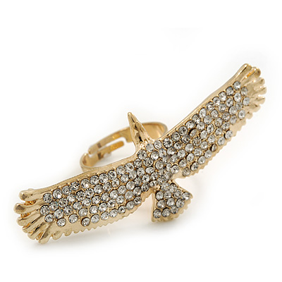 Gold Plated Sculptured Swarovski Crystal 'Eagle' Statement Ring - Adjustable - (Size 7/8) - 5.5cm Length