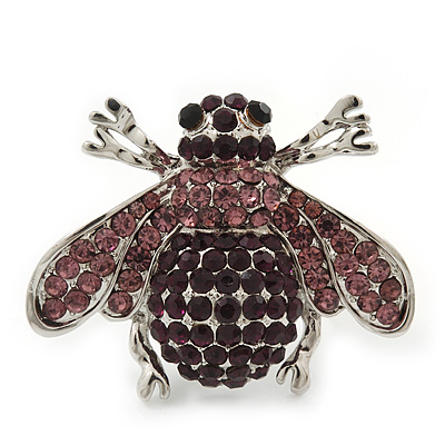 Rhodium Plated Swarovski Crystal Bumble Bee Cocktail Ring - Adjustable Size 8/9 (Violet and Purple)