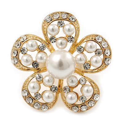 Caviar Pearl and Swarovski Crystal Floral Cocktail Ring (Gold Plated) - 30mm Size 7/8 Adjustable