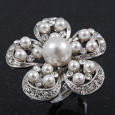 Caviar Pearl and Swarovski Crystal Floral Cocktail Ring (Rhodium Plated) - 30mm Size 7/8 Adjustable