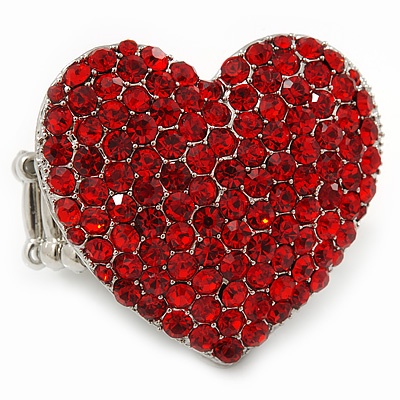 Rhodium Plated Swarovski Crystal Paved &#039;Be Mine&#039; Heart Shaped Cocktail Stretch Ring - 3cm Length - Adjustable Size 7/8