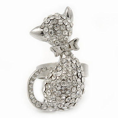 Rhodium Plated Clear Swarovski Crystal 'Kittie' Ring - 35mm Length - Adjustable - Size 7/8
