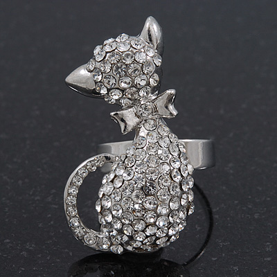 Rhodium Plated Clear Swarovski Crystal &#039;Kittie&#039; Ring - 35mm Length - Adjustable - Size 7/8