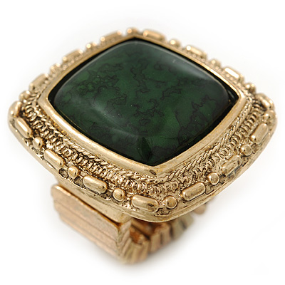 Forest Green Resin Stone Square Flex Ring In Gold Plating - 32mm Width - Size 7/9