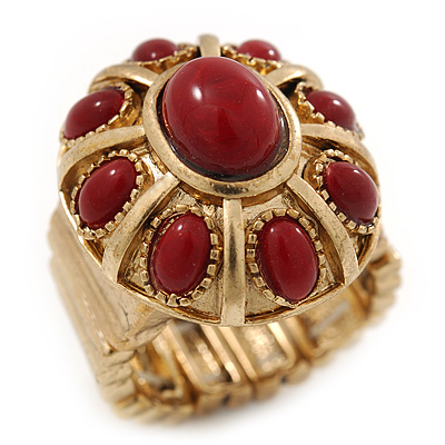 Vintage Ruby Red Glass Stone Oval Flex Ring In Burn Gold Finish - 25mm Length - Size 8/9