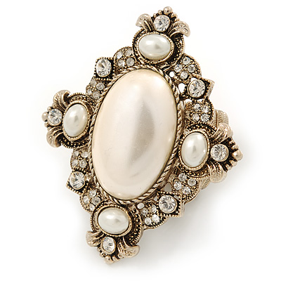 Vintage Inspired Oversized Oval, Crystal, Simulated Pearl Flex Cocktail Ring In Antique Gold Tone - 60mm L - Size 7/8 - main view