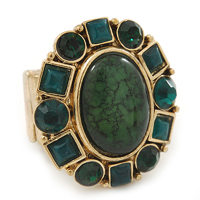 Chunky Oval, Forest Green Glass Bead Flex Ring In Gold Plating - 30mm Across - Size 7/8