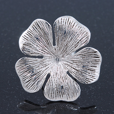 Large Ethnic Textured &#039;Flower&#039; Ring In Burn Silver Metal - 40mm Diameter - Adjustable - Size 7/8
