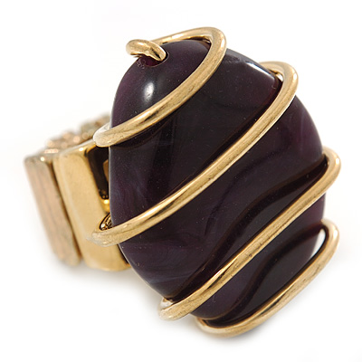 Vintage Deep Purple Resin Stone Wire Flex Ring In Burn Gold Finish - 35mm Across - Size 7/8