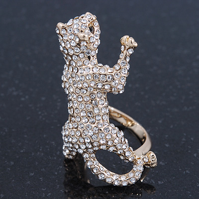 Gold Plated Sculptured Swarovski Crystal 'Cat' Statement Ring - (Size 8) - 4cm Length