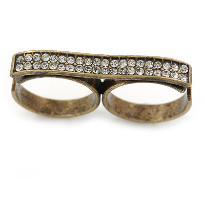 Vintage Pave-Set 'Plate' Two Finger Ring In Bronze Tone Metal - Adjustable - 35mm Width