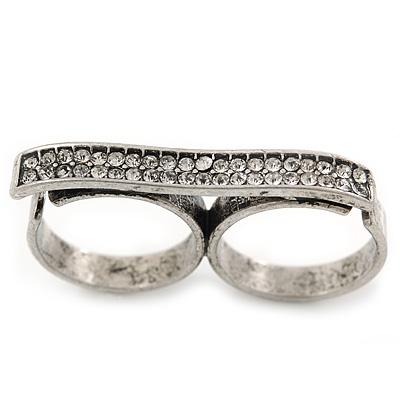 Vintage Pave-Set 'Plate' Two Finger Ring In Burn Silver Metal - Adjustable - 35mm Width
