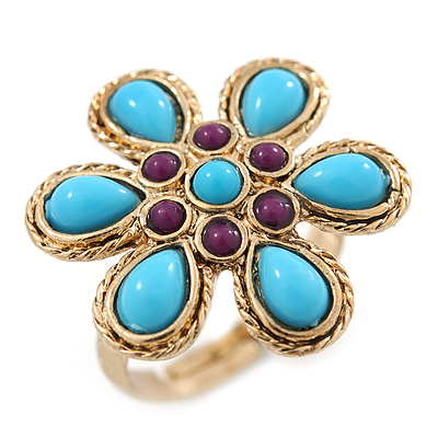 Delicate Turquoise, Purple Bead 'Flower' In Gold Plaiting - 25mm Diameter - Adjustable - Size 7/8