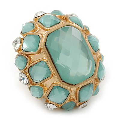 Statement Pale Blue/ Clear Glass Bead Dome Shaped Cocktail Ring In Brushed Gold - Flex - 40mm Across - Size 7/8