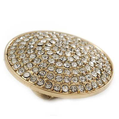 Statement Round Pave Set Swarovski Crystal Elements 'Discus' Stretch Ring - Adjustable 7/8 - 50mm Wide