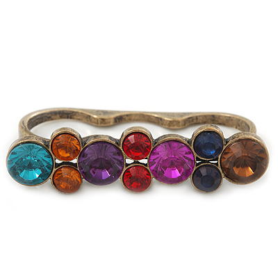 Vintage Multicoloured Cluster Crystal Bead Three Finger Ring In Bronze Metal - 60mm Width