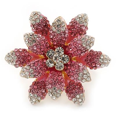 Large Dimensional Clear/ Pink Swarovski Crystal Narcissus Cocktail Ring In Gold Plating - 40mm Diameter - Size 7/8 (Adjustable)