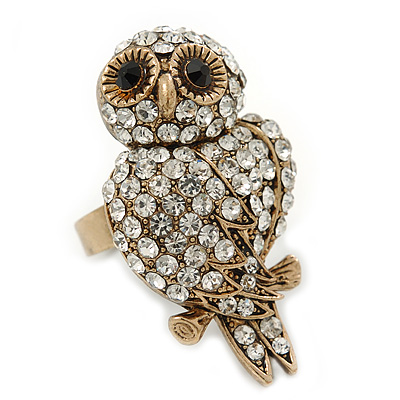 Vintage Style Swarovski Crystal 'Wise Owl' Cocktail Ring - Burn Gold - Adjustable