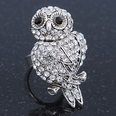 Vintage Style Swarovski Crystal 'Wise Owl' Cocktail Ring - Burn Silver - Adjustable