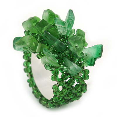 Apple Green Semiprecious Chip Cluster Flex Ring - main view
