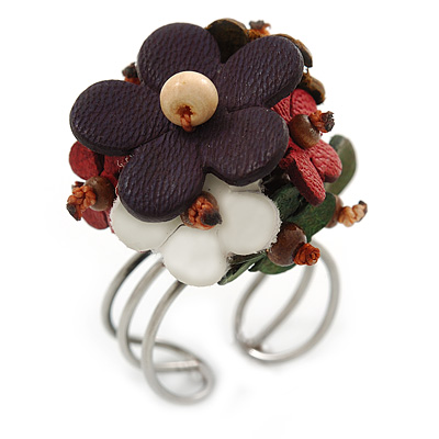 3D Multicoloured Leather Floral  Ring With Silver Tone Wire Band - 25mm Diameter - 7/8 Adjustable