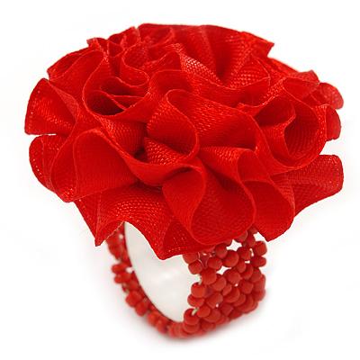 Red Silk & Glass Bead Floral Flex Ring - 40mm Diameter