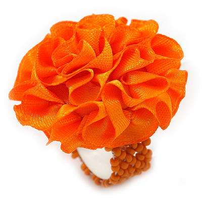 Orange Silk & Glass Bead Floral Flex Ring - 40mm Diameter
