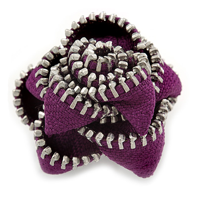 Large Purple Zipper Fabric Rose Ring With Silver Tone Wire Band - 45mm Diameter - 7/8 Adjustable - main view