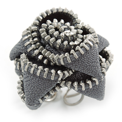 Large Grey Zipper Fabric Rose Ring With Silver Tone Wire Band - 45mm Diameter - 7/8 Adjustable - main view
