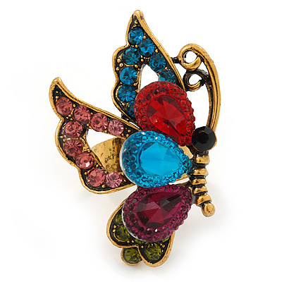 Multicoloured Crystal Butterfly Ring In Antique Gold Metal - Adjustable - Size 7/8 - main view