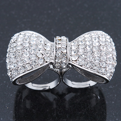 Large Clear Austrian Crystal Pave Set 'Bow' Two Finger Ring In Rhodium Plating - 50mm Across - Adjustable