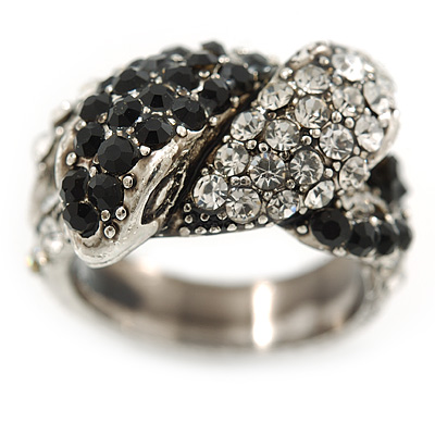 Vintage Inspired Black/ White Crystal Two Intertwined Snake Ring In Burn Silver - Size 7