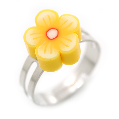 Children's/ Teen's / Kid's Bright Yellow Fimo Flower Ring In Silver Tone - Adjustable