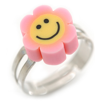 Children's/ Teen's / Kid's Deep Pink, Yellow Fimo Flower Ring In Silver Tone - Adjustable