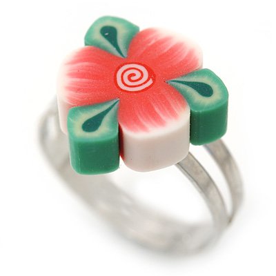 Children's/ Teen's / Kid's Pink, Green Fimo Flower Ring In Silver Tone - Adjustable