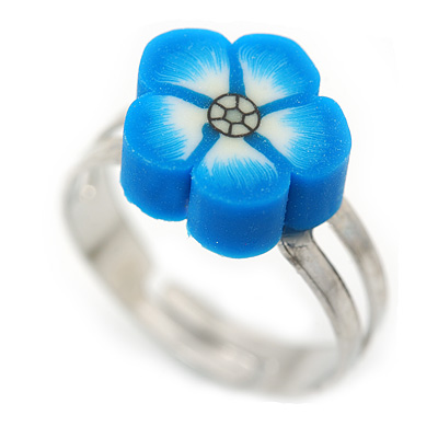 Children's/ Teen's / Kid's Blue Fimo Flower Ring In Silver Tone - Adjustable - main view