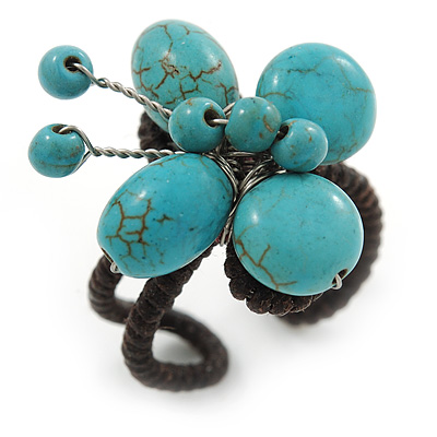Turquoise Butterfly Wire Band Ring - size 7/8 - Adjustable