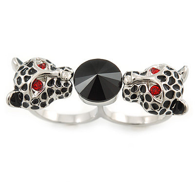 Black Enamel, Crystal Two Head Jaguar Double Finger Ring In Rhodium Plated Metal - (Size 7/8) - 45mm Width