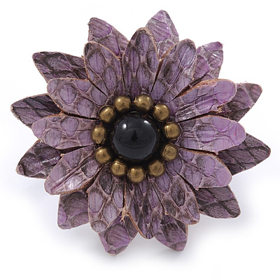Lavender Leather Layered With Glass Bead Daisy Flower Wire Band Ring - Adjustable - 40mm D - main view