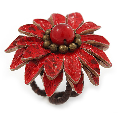 Red Leather Layered With Glass Bead Daisy Flower Wire Band Ring - Adjustable - 40mm D