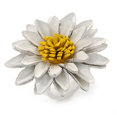White/ Yellow Leather Layered Daisy Flower Ring - 40mm D - Adjustable - main view