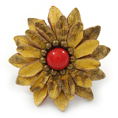 Antique Yellow Leather Layered With Glass Bead Daisy Flower Wire Band Ring - Adjustable - 40mm D - main view