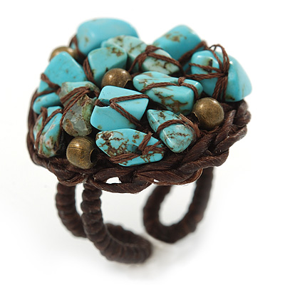 Dome Shape Turquoise Nugget Stone Wired Ring - 25mm D - 7/8 Adjustable