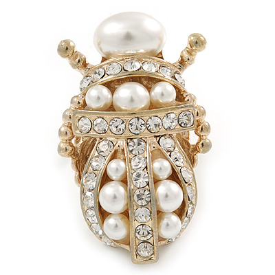 Clear Crystal, Glass Pearl Egyptian 'Scarab' Beetle Ring In Gold Plating - Size 7/8 - Adjustable - 45mm