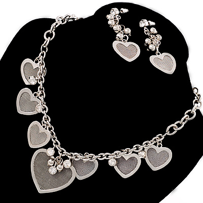 Rhodium Plated Mesh Heart Set - main view