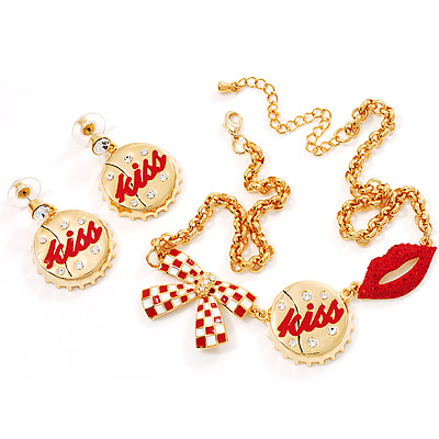 Gold Plated Kiss, Lips and Bow Costume Jewellery Set
