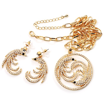 Gold Clear Crystal Firebird Costume Jewellery Set