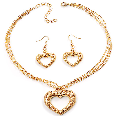 Gold Plated Crystal Heart Costume Jewellery Set