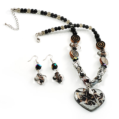 Black Glass Heart Fashion Necklace & Earrings - main view